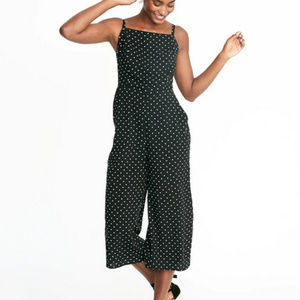 Old Navy Black Midi Jumpsuit with Polka Dots
